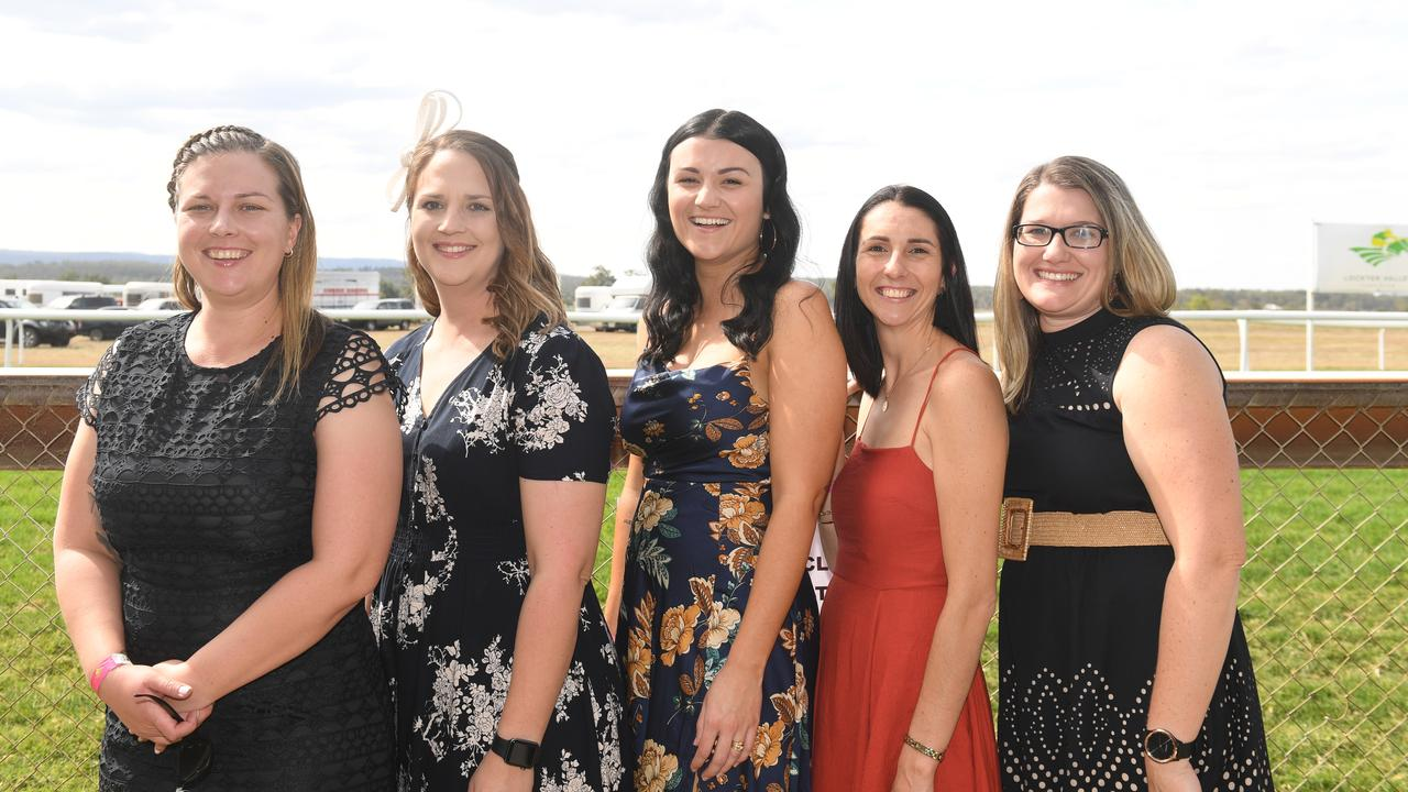 Melinda Lavender, Melanie Rose, Stacey Kajewski, Rochelle Attrill and Kirsty Jackwitz at the Lockyer Valley Turf Clubs Tradies Race Day, Saturday, September 5, 2002. PHOTO: ALI KUCHEL