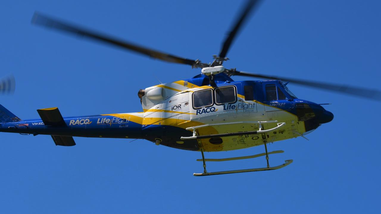 The RACQ LifeFlight helicopter.