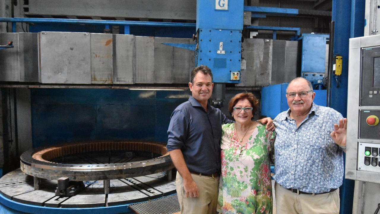 Rodger and Pam Berg with their son Derek Berg, of Berg Engineering, which employs more than 50 staff in Gladstone on engineering projects and has offices in Brisbane and overseas.
