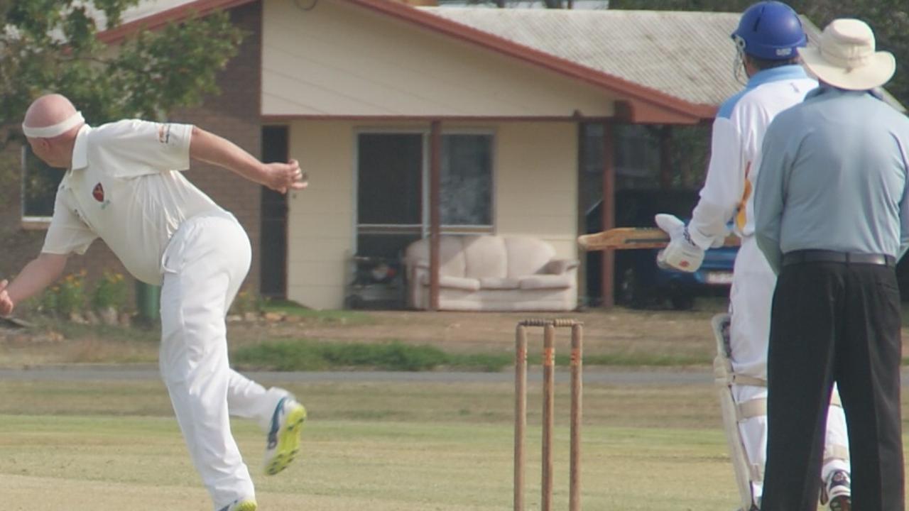 Lockyer/Ipswich cricketer Ian Kimlin on his way to taking four wickets.