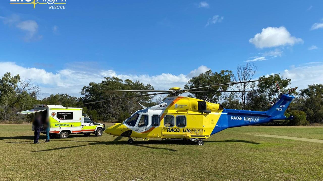 The toddler was flown to Brisbane in a serious condition. Photo: RACQ Lifeflight Rescue