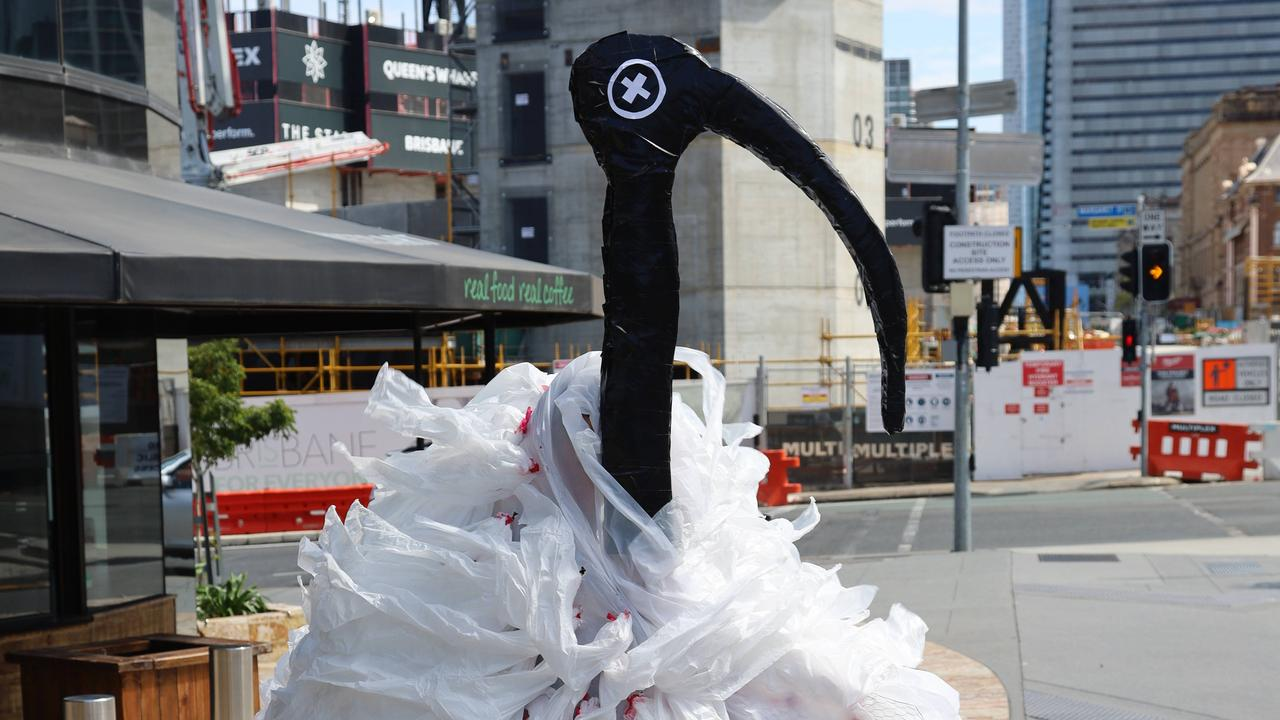 'The Ipswich Ibis Ippy' in Brisbane as part of the launch of the Ipswich Incinerator Campaign Action Group