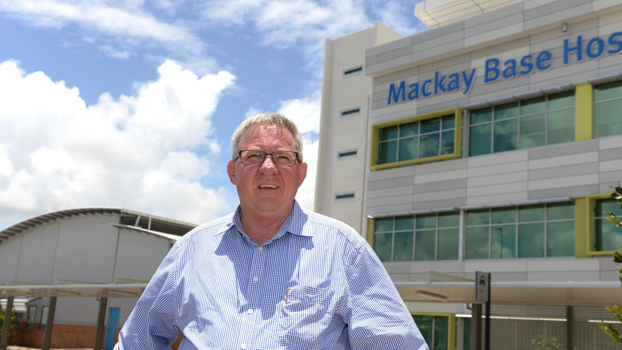 Mackay Hospital and Health Service board chairman Tim Mulherin, outside the Mackay Base Hospital.