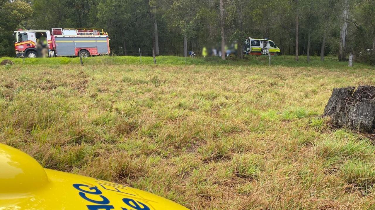 The scene of a crash at Neusa Vale Monday mornring. Photos: Lifeflight
