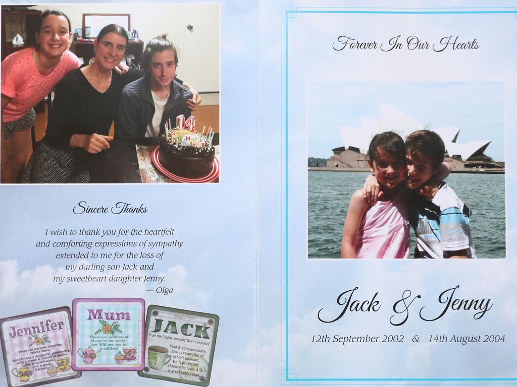 The order of service for murdered children Jennifer and Jack Edwards.