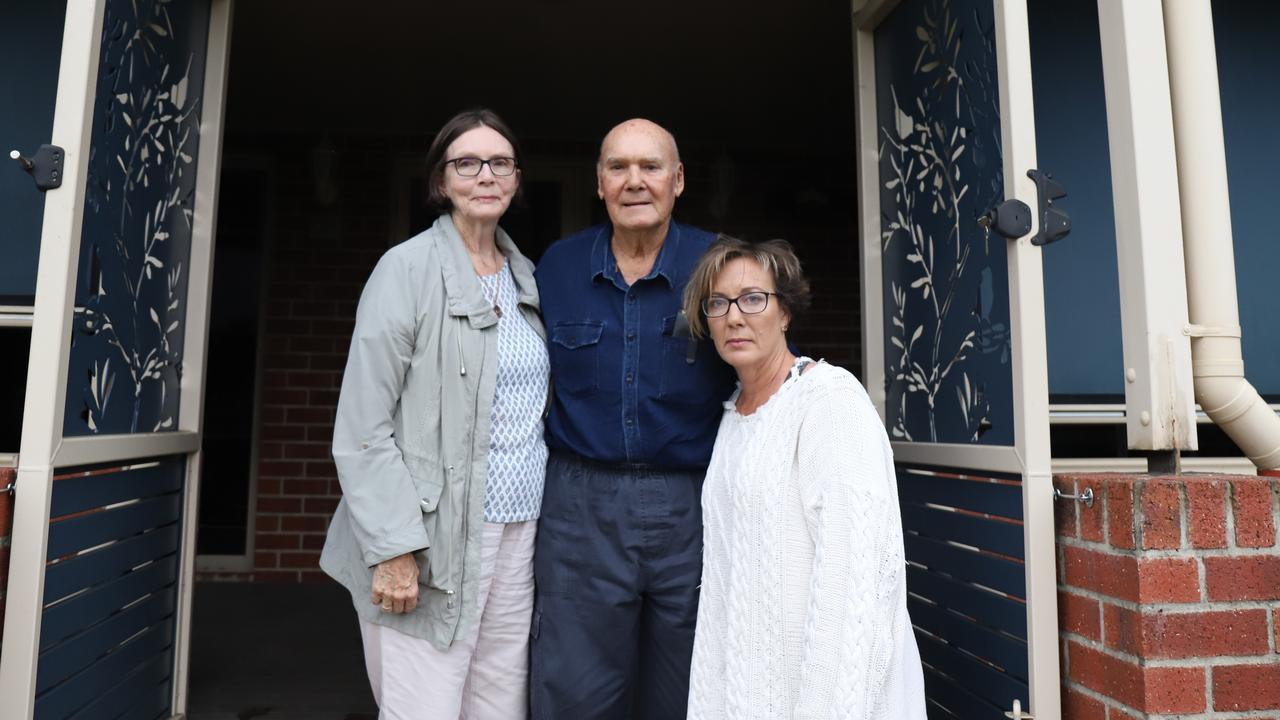 Terry and James Schmidtke with their daughter Trudy Clarkson. The family's lives have been changed forever by the Mackay Ring Road. Just meters from where they are standing the large overpass of the road loops across their paddock and around their home. Picture: Ashley Pillhofer