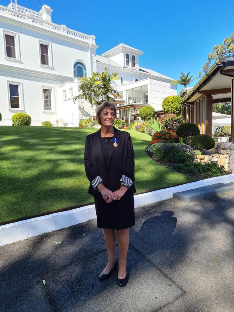Nancy Bates OAM outside Government House