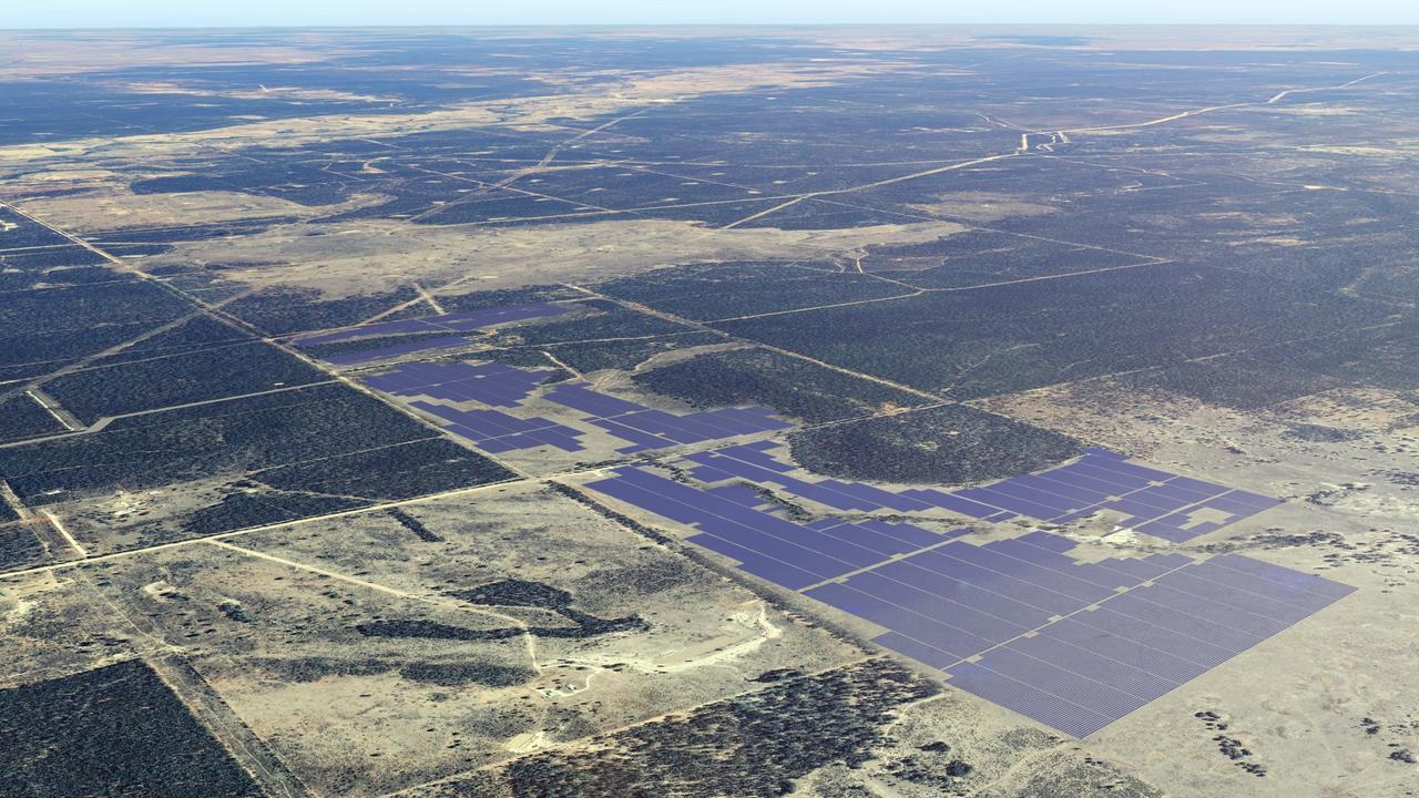 A mock-up image of a massive solar farm.