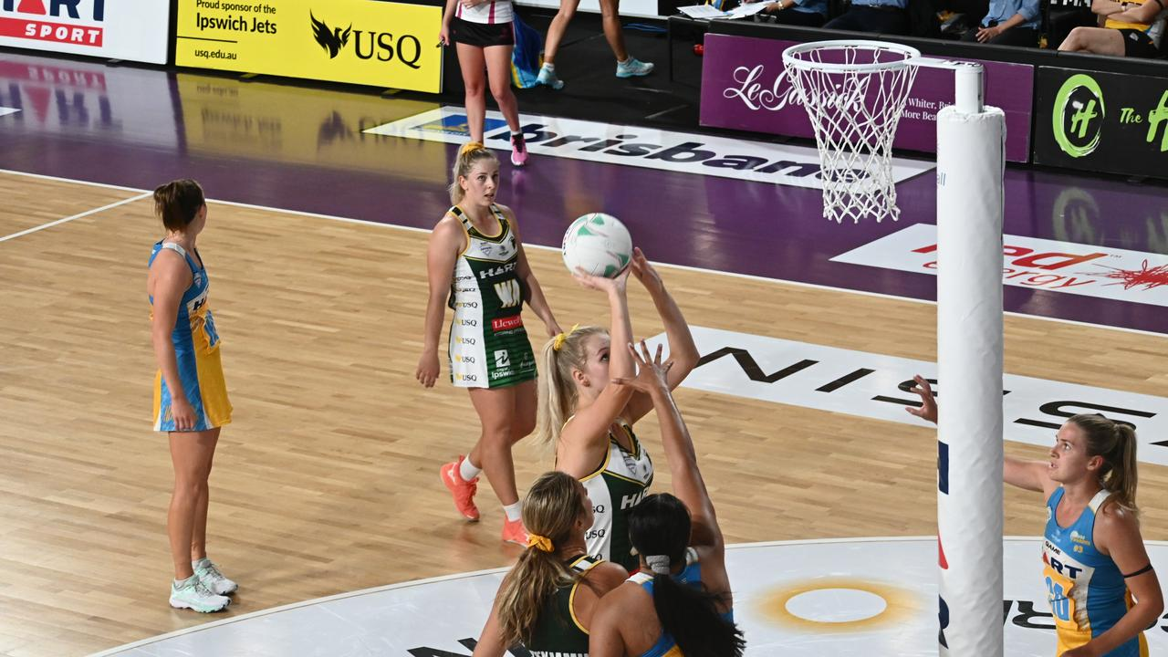 USQ Ipswich Jets captain and wing defence Stephanie O'Brien watches intently as her teammate attempts a shot against Thunder. Picture: Ipswich Jets Media
