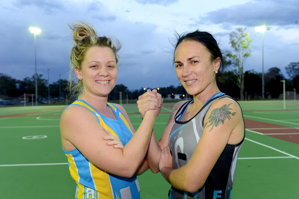 Image for sale: Ipswich Flyers teammates will face off in the Ipswich A Grade grand final this weekend with the Aztecs Emilie McInally and Flava Sarah Jackson.Photo: Kate Czerny / The Queensland Times