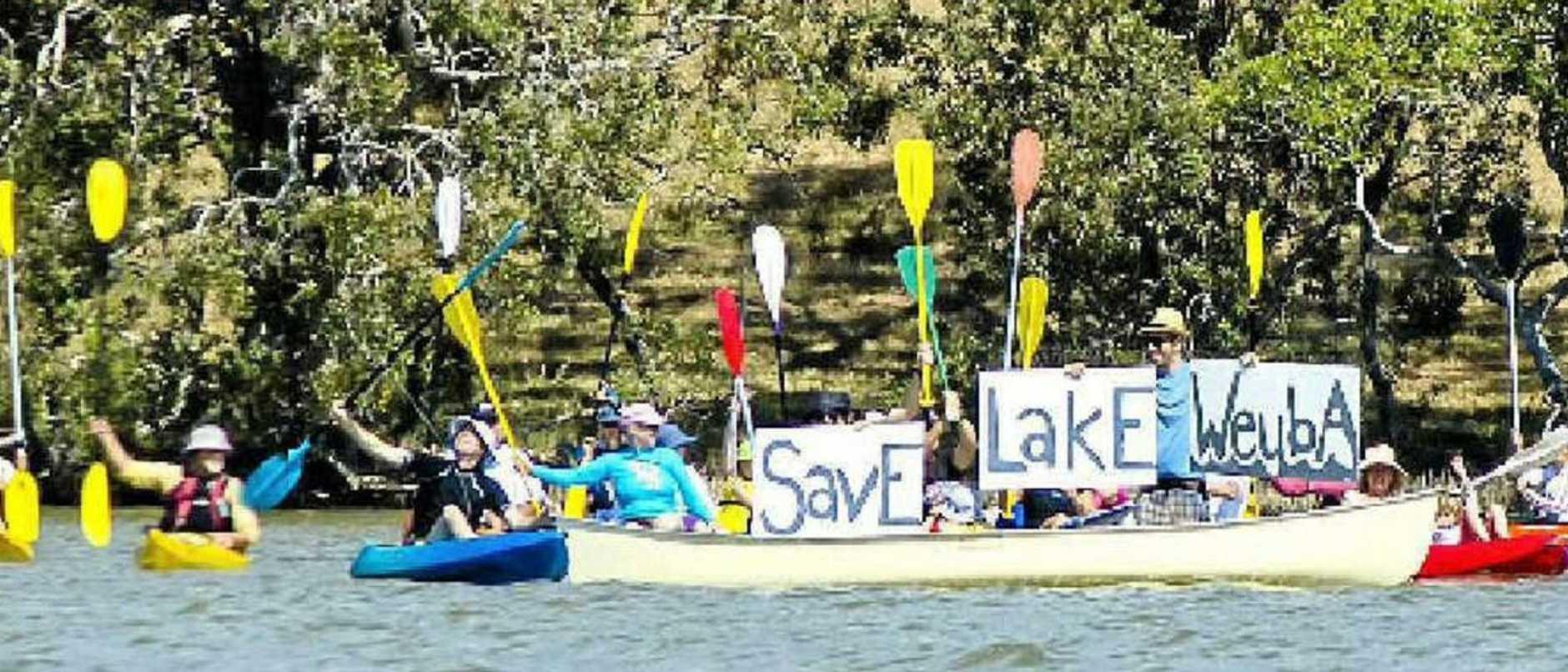 Friends of Lake Weyba make their feelings clear.