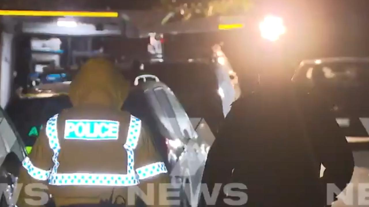 Police have set up a crime scene in the Perth suburb of Morley after a incident earlier in the evening on Halvorson Rd. Picture: 7News