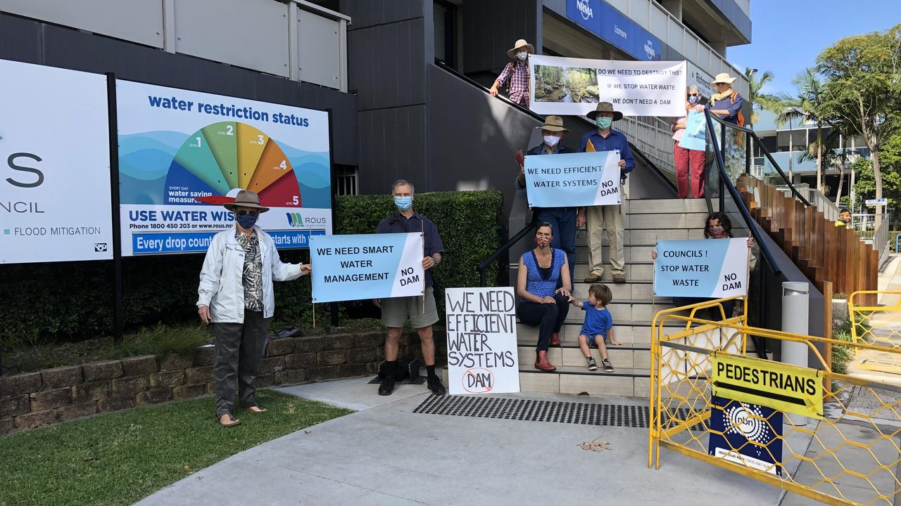NO DAM: The newly formed alliance, WATER Northern Rivers held a protest before they present hundreds of submissions objecting to the Dunoon dam to Rous County Council on September 8, 2020. Photo: Alison Paterson