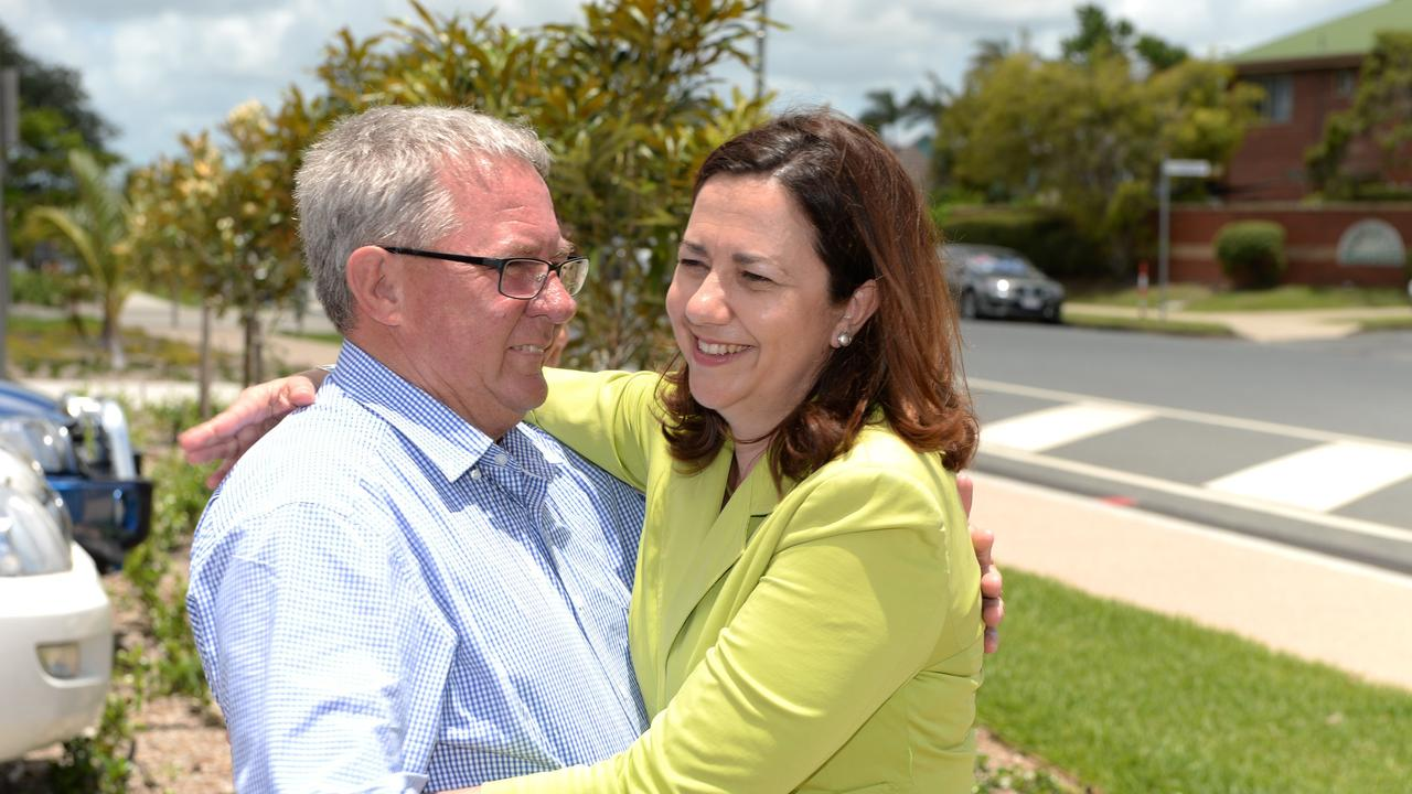 Former Mackay MP Tim Mulherin is embraced by Premier Annastacia Palaszczuk as he announces his retirement from politics in Mackay. Picture: Lee Constable / Daily Mercury