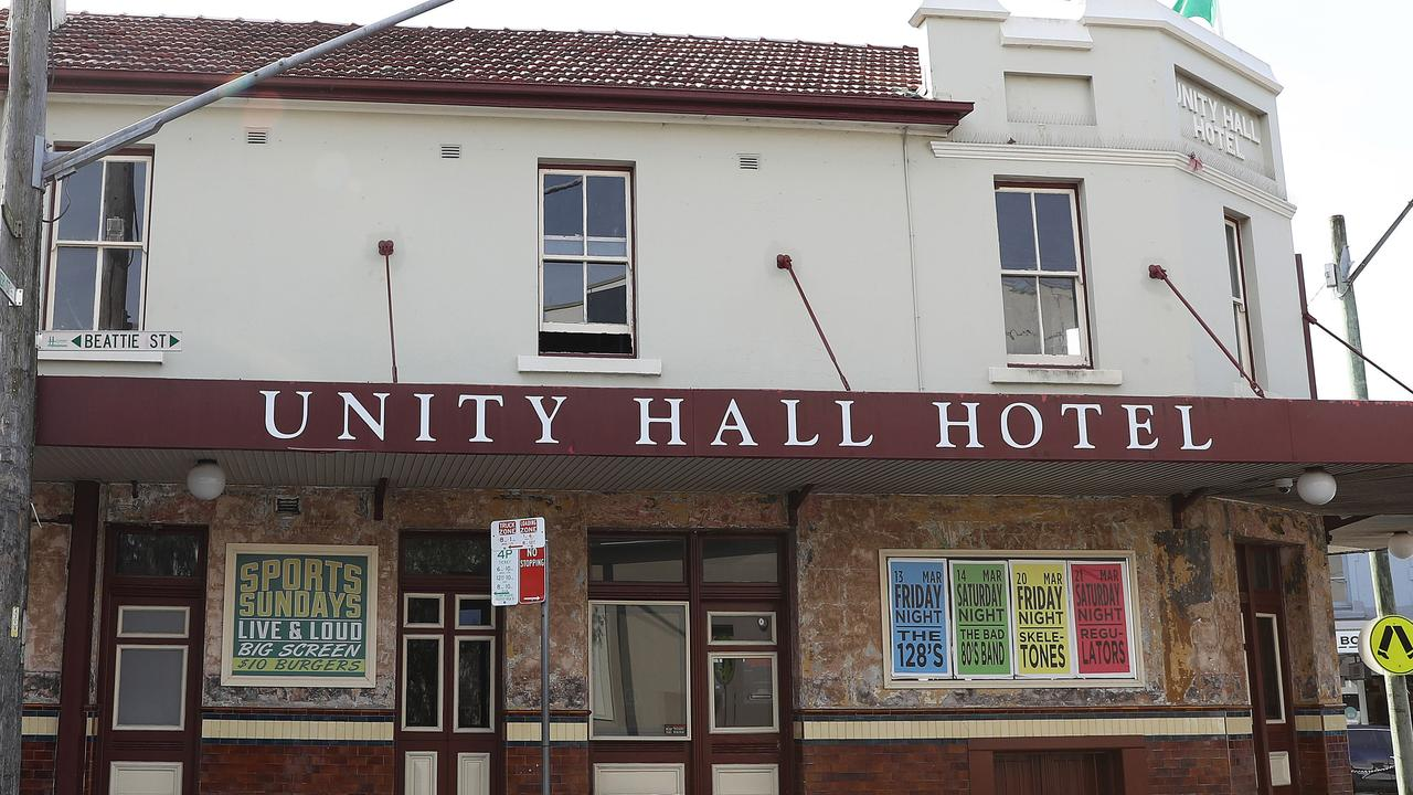 The Unity Hall Hotel in Balmain, Sydney. which will be closed for 5 days from 5am on Wednesday over COVID breaches.