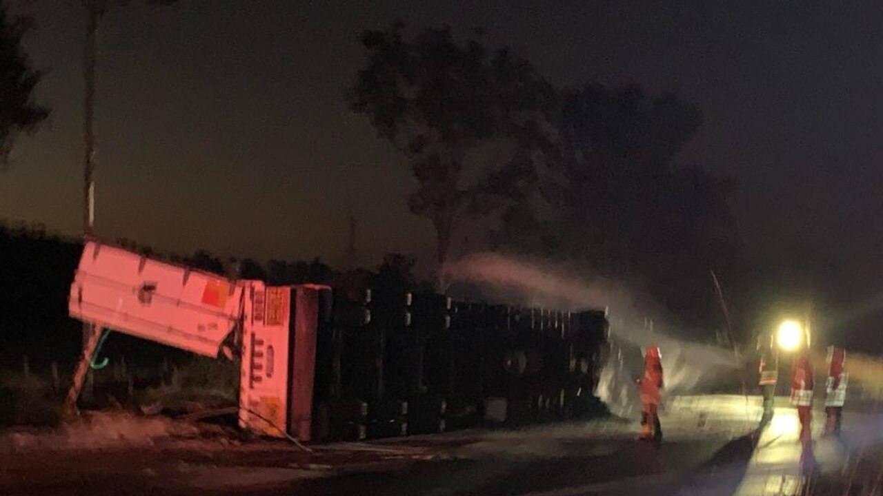 The truck driver was able to escape before it caught fire