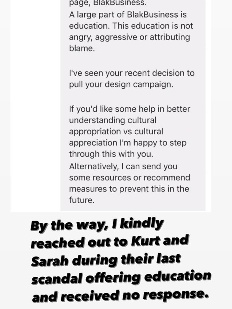Sarah Day has previously been accused of cultural appropriation and @blakbusiness claims it offered help during the last storm. Picture: Instagram/@blakbusiness