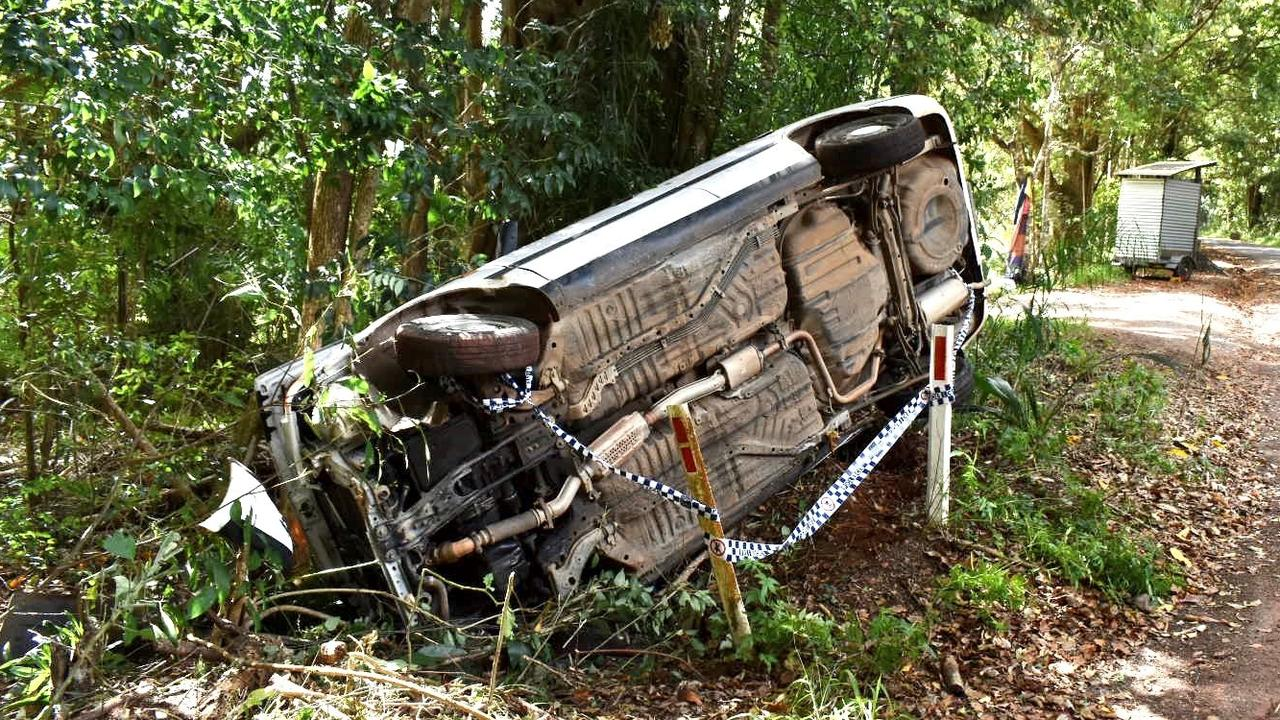 A car rolled on its side at the Byron Shire's side of Friday Hut Road, but neighbours dismissed social media claims the incident was due to potholes.