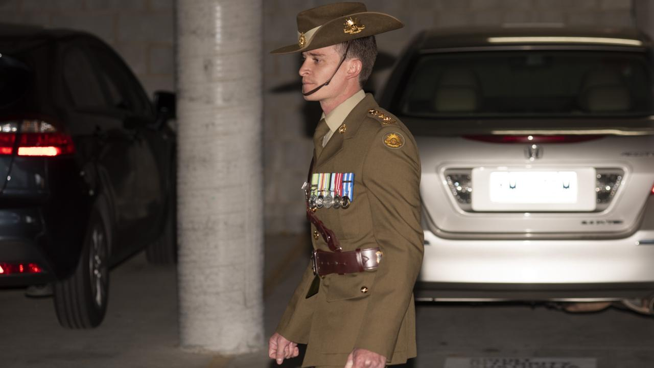 Captain William Howieson leaves and ADF Court Martial in Canberra. He has pleaded not guilty to indecency and prejudicial conduct. Picture: NCA NewsWire / Martin Ollman