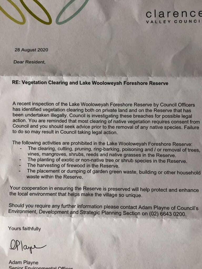 Residents of Wooloweyah received this letter from Clarence Valley Council alerting them to the alleged illegal activity.
