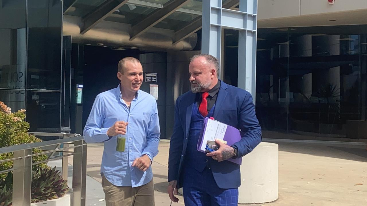 Brock Prime (left) leaves Southport Courthouse with his lawyer Campbell MacCallum, of Moloney MacCallum Abdelshahied Lawyers. Picture: Lea Emery