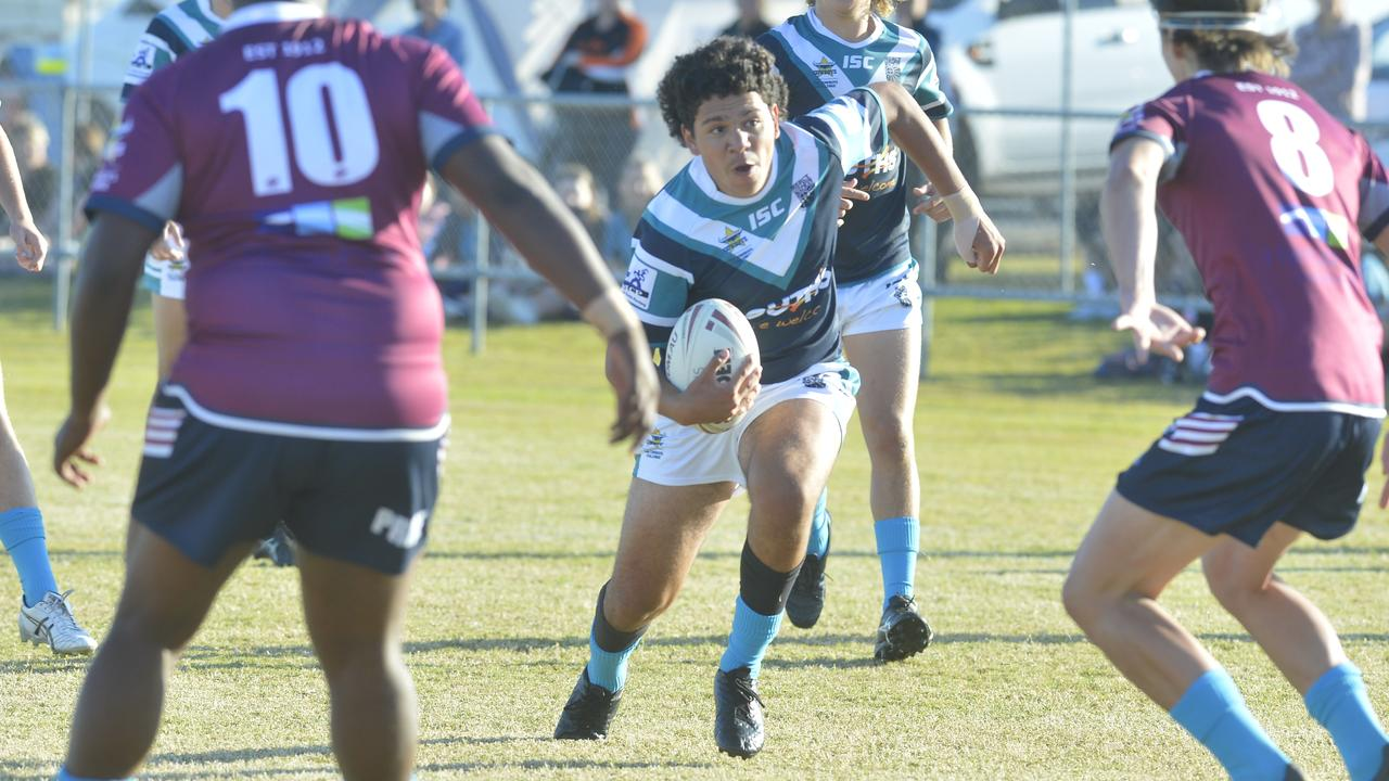 Mercy College defeated Mackay State High School 18-6 in the final round of the Cowboys Challenge to progress through to the grand final. Photo: Callum Dick