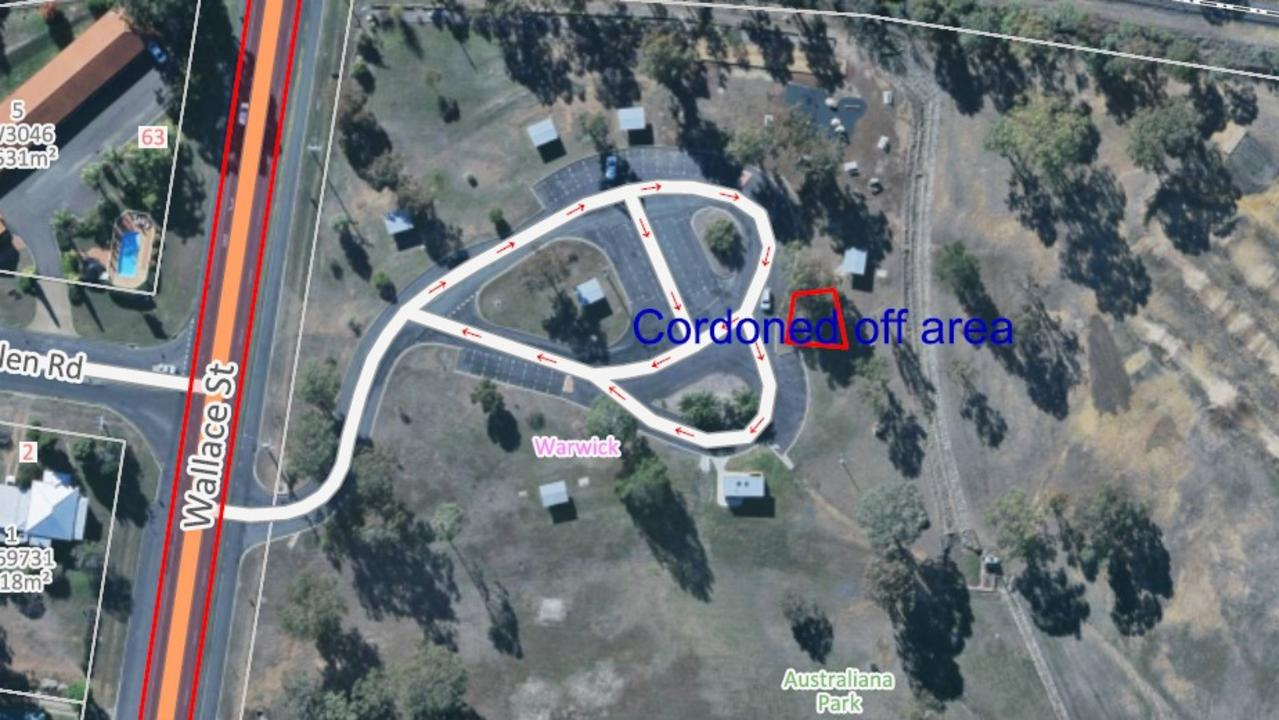 Areas of Australiana Park cordoned off due to asbestos scare. Picture: SDRC