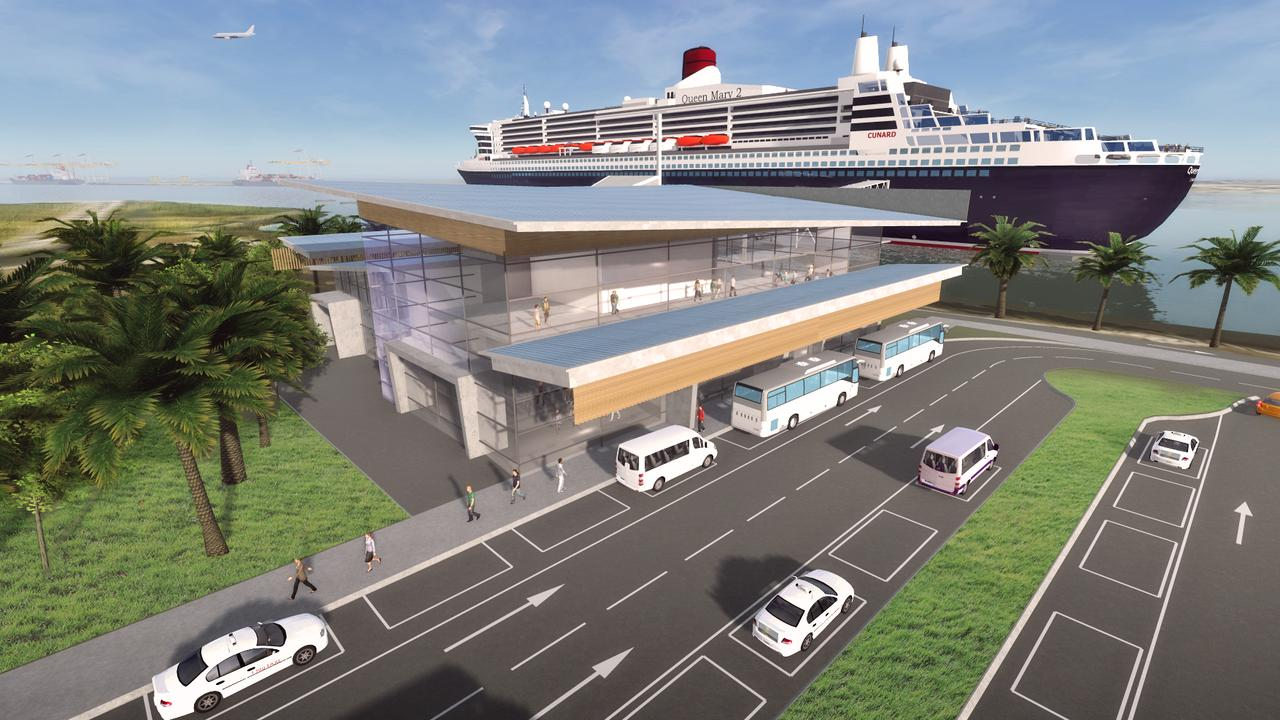 An artist's impression of the cruise terminal which is capable of hosting the world's biggest ocean liners. It was supposed to open on October 3 but there is now now no opening date because of coronavirus. Picture: Supplied