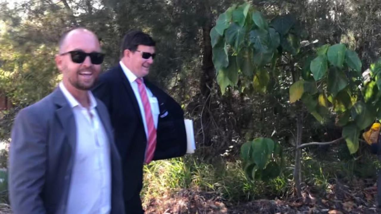Former Bachelorette contestant Jess Glasgow and his lawyer Patrick Meehan leave Noosa Magistrates Court on Tuesday. Picture: Laura Pettigrew.
