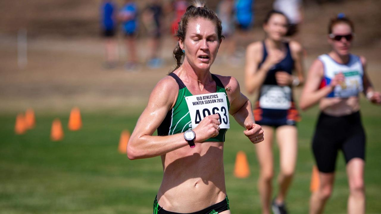 Silver medal-winning Ipswich and District Club runner Tamara Carvolth displays her stamina at the Queensland Cross Country championships. Picture: Michael Thomas