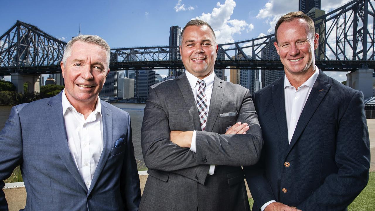 Paul Green, the now sacked Cowboys coach who may take over the Broncos, sacked Broncos coach Anthony Seibold and Titans coach Justin Holbrook, pictured at the start of 2020. Picture: Lachie Millard
