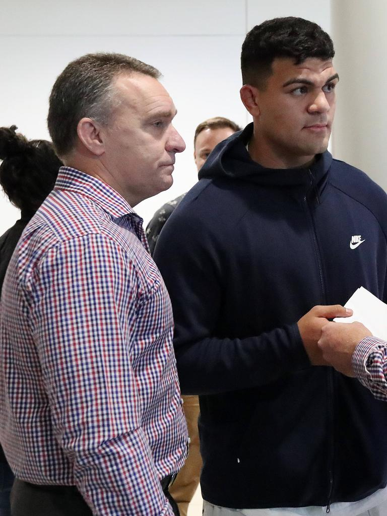 Fifita with Broncos CEO Paul White, after arriving back into Australia after his arrest in Bali. Picture: Liam Kidston