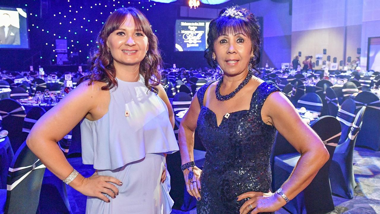 Cheryl Royal-Scott and Crystal Hudson at the 2019 Santos GLNG Mayor's Charity Ball, held at Gladstone Entertainment Convention Centre on 11 May 2019.
