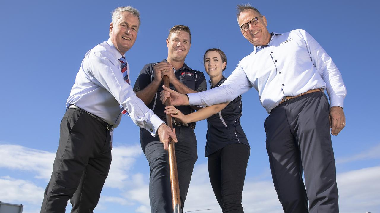 Mackay, Northern Beaches July 7, 2020: Mackay Mayor Greg Williamson, WHF general manager Chris Frier, Kaitlyn Frier and Stockwell managing director Mark Stockwell turn the first sod at the Northern Beaches Emporium site. Picture: Damien Carty