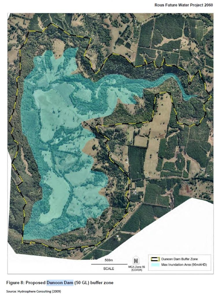 The catchment and buffer zones of a Proposed Dunoon Dam as they will be discussed by Rous County Council.