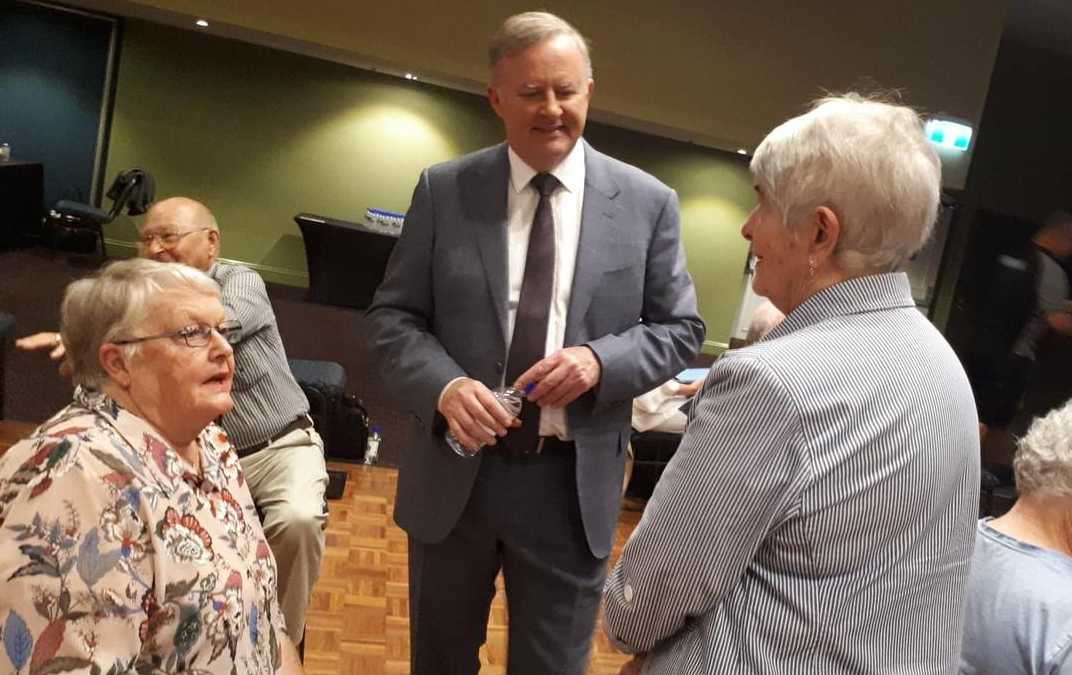 June Smith and Pam Soroczynski chat with Leader of the Labor Party Anthony Albanese before his speech at the Coffs Harbour C.ex Club.