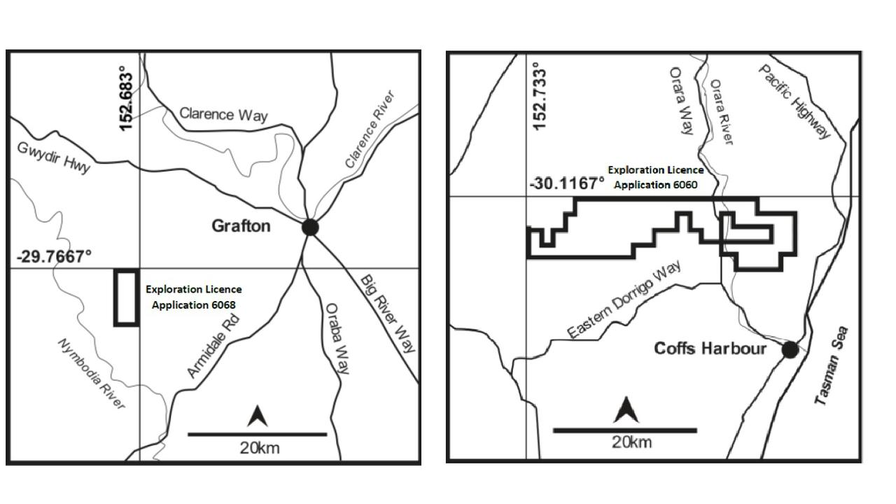 Two exploration licence applications have been submitted by Christopher Wilson Investments for mining in the Coffs/Clarence region. One is north west of Coffs Harbour on either side of the Orara Way and River, the other is south east of Grafton close to the Nymboida river.