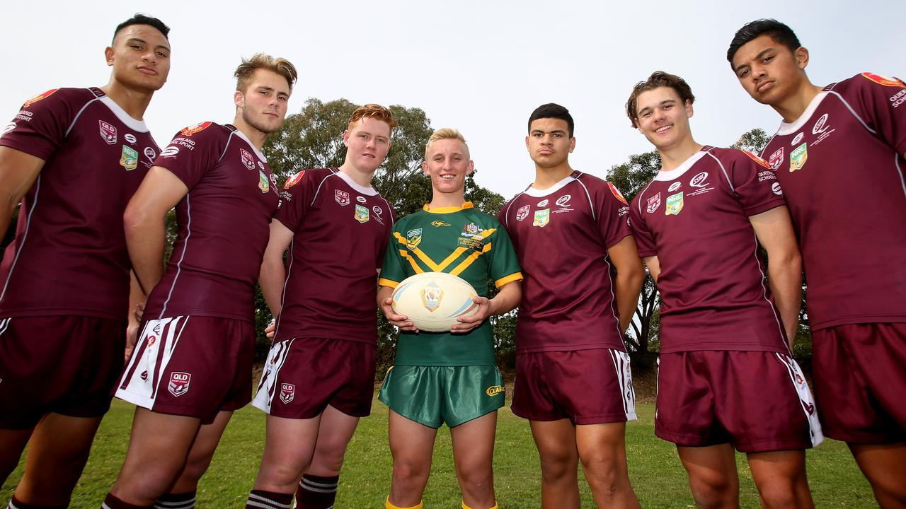 The Keebra Park High School guns of 2015: Jono Siofele, Billy Mozer, Geordie Brand, Tanah Boyd, David Fifita, Sebastian Winter Chang and Ioane Seuili. Boyd would be crucial to luring Fifita to the Titans.