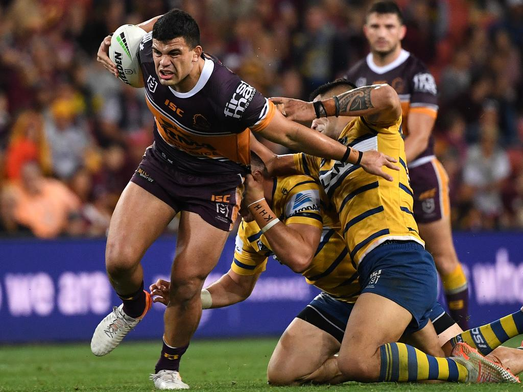 David Fifita on one of his trademark runs against the Eels in 2019. Picture: AAP Image/Dave Hunt