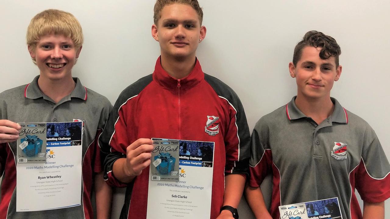USC CHALLENGE: Urangan State High School students Ryan Wheatley, Seb Clarke and Jacob Killer.