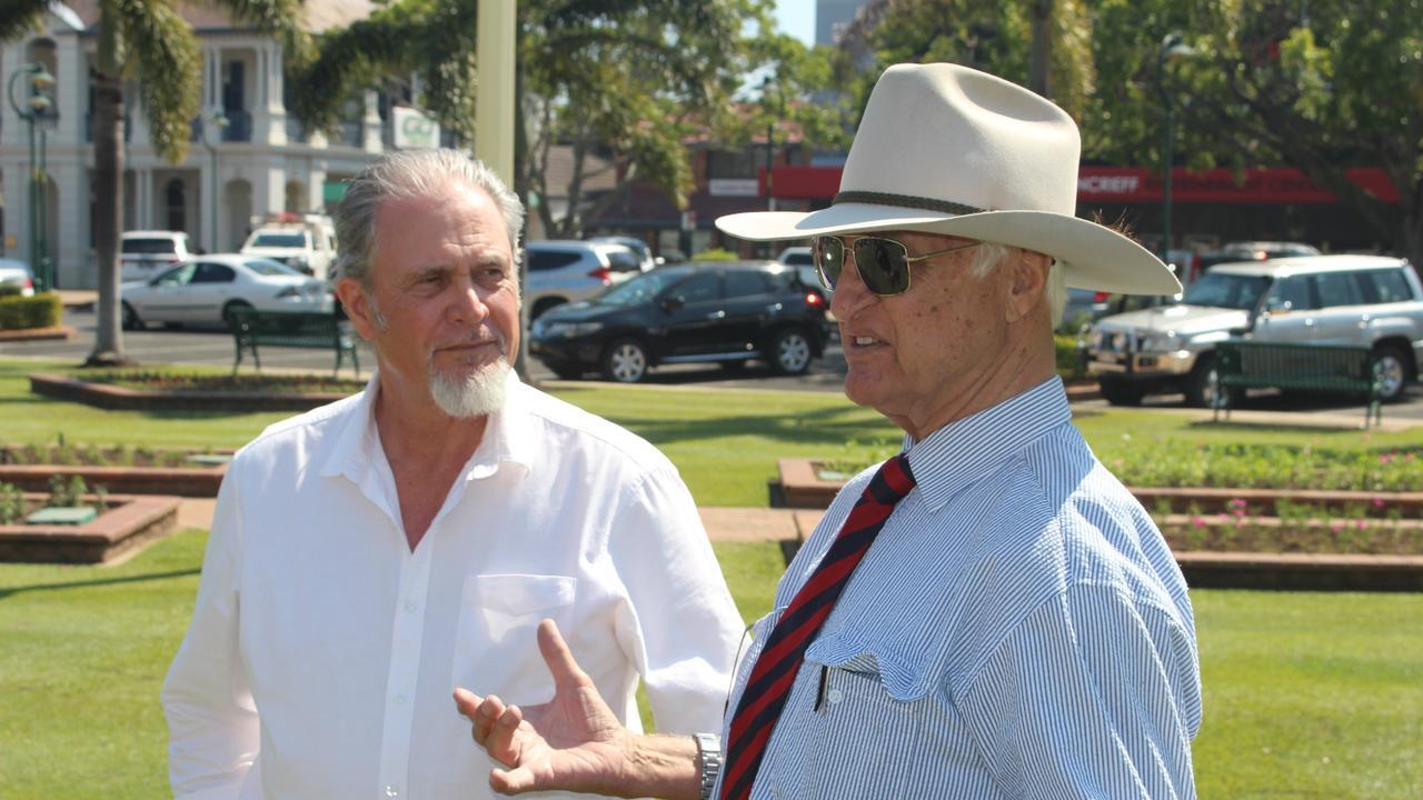 Katter's Australian Party candidate for Burnett Paul Hudson with Bob Katter at Buss Park.