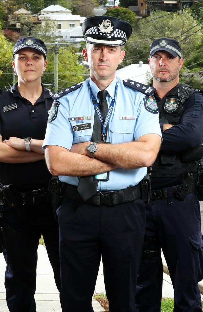 Acting Senior Sergeant Rowena Hardiker, Inspector Ben Martain, and Acting Sergeant Josh Bull, are part of Operation Sierra Alessa which is cracking down on the state's worst DV offenders. Picture: Liam Kidston