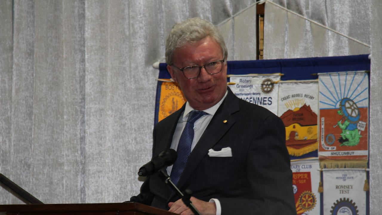 Governor of Queensland Paul de Jersey addressing the Rotary Club of South Gladstone's 50th birthday dinner. Picture: Rodney Stevens