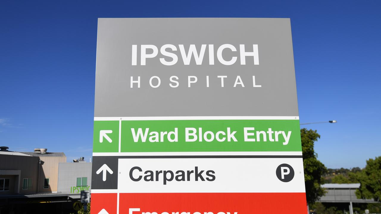 An Ipswich Hospital sign, west of Brisbane, where seven health care workers have tested positive to SARS-CoV-2, the virus that causes COVID-19. Photo: NCA NewsWire / Dan Peled.