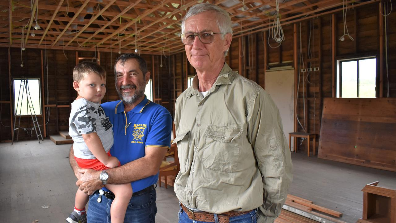 Mackay Regional Council councillor and Habana resident Laurence Bonaventura with grandson Amais Rae and fellow Habana resident and builder Mats Gustafsson – who has offered his expertise on the hall's refurbishment. Picture: Heidi Petith