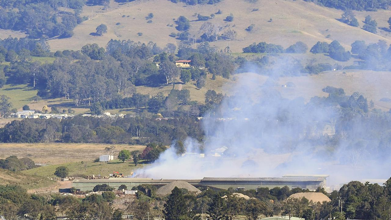 The fire at the waste facility in Lismore sent smoke towards the CBD.