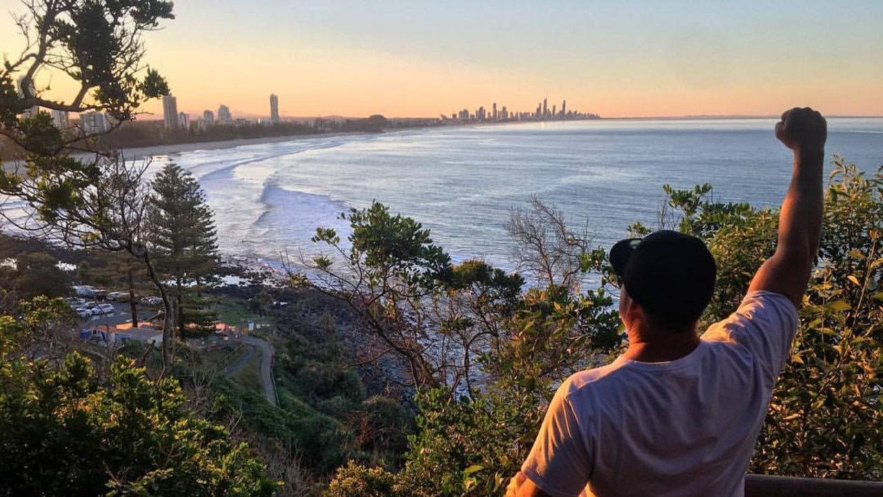 A photo taken from Nick Slater's Facebook page at the top of Burleigh Headland.