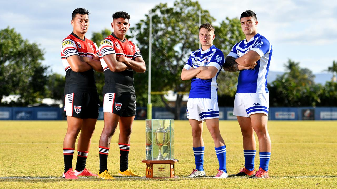 Kirwan's Jeremiah Nanai and Clay George (left) with Ignatius Park's Maverick Pegoraro and Isaiah Vailalo are set for today's Aaron Payne Cup grand final. Picture: Alix Sweeney