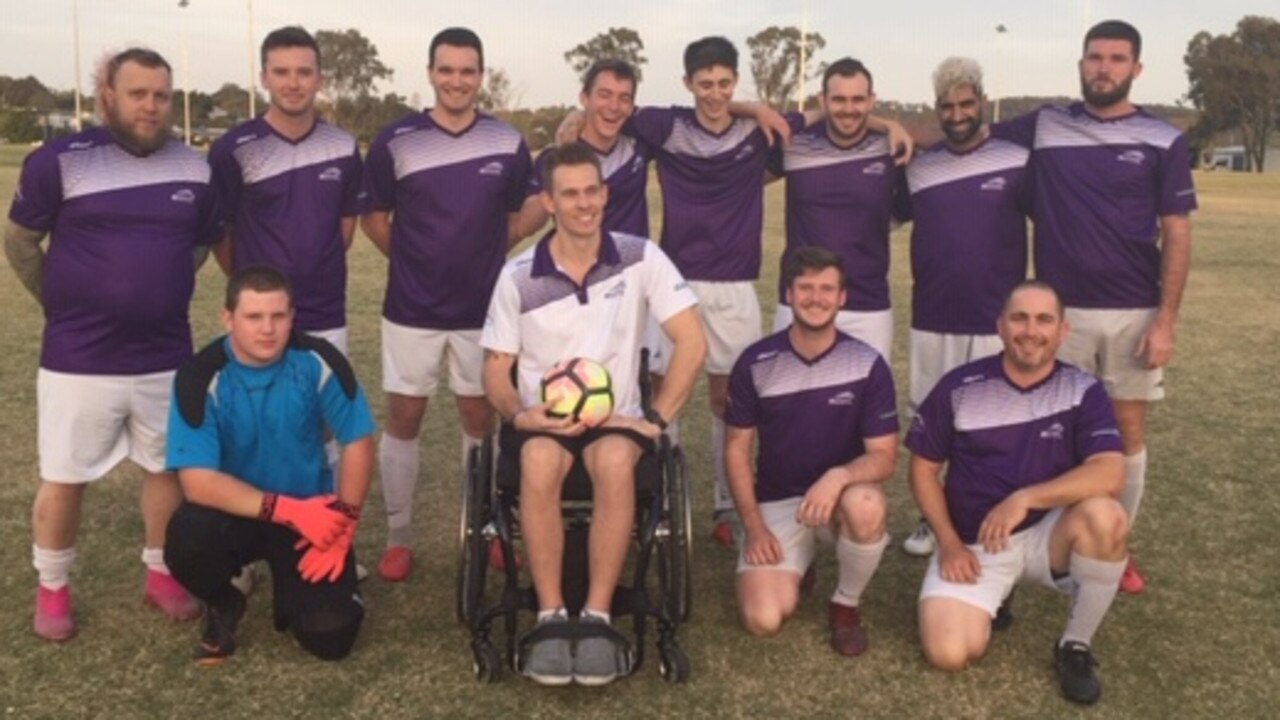 The Raceview Senior men's Division 1 White church soccer team with inspirational coach Rohan Sills.