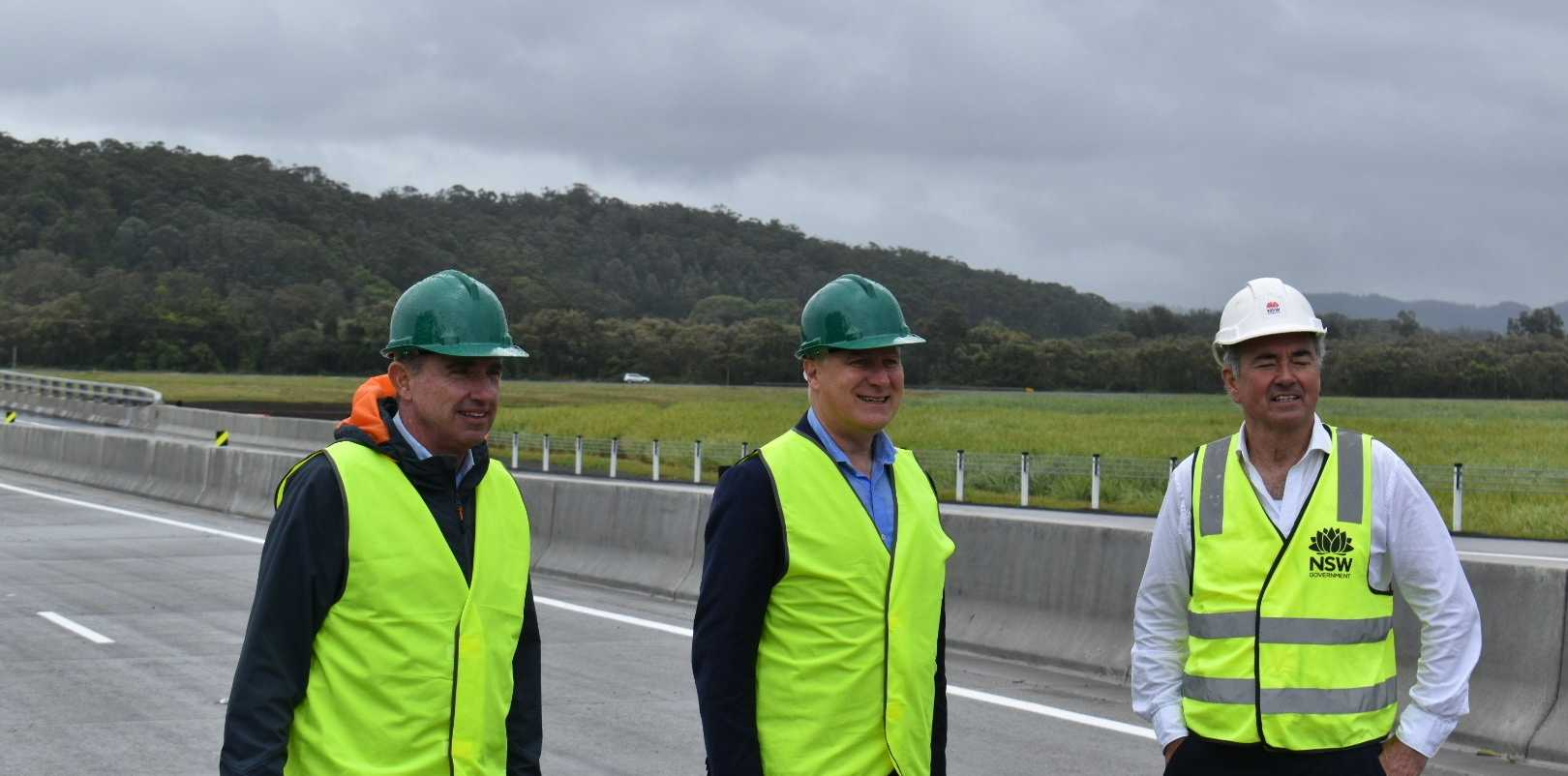 Page MP Kevin Hogan, Deputy PM Michael McCormack and Clarence MP Chris Gulaptis.
